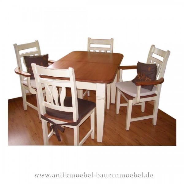 Essgruppe Esszimmerset Tischgruppe Vollholz Bauernmöbel Massiv Zweifarbig Landhausstil