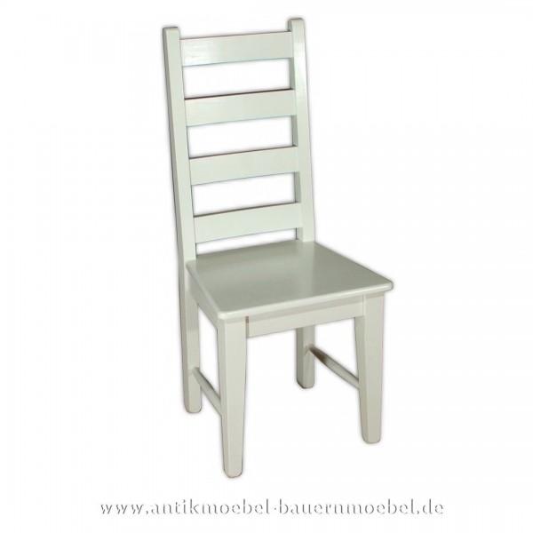 Stuhl Holzstuhl weiß Massivholz Landhausstil hohe Lehne Querstreben in der Rückenlehne Artikel-Nr.: stl-30-st