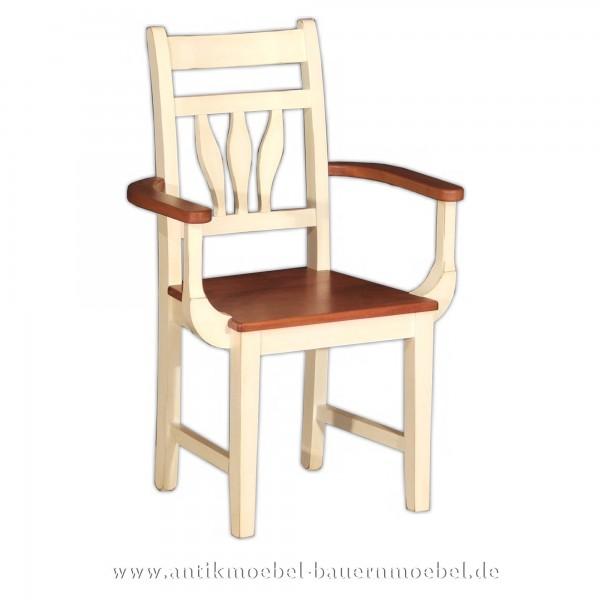 Stühle Buche Holzstuhl mit Armlehne Massivholz Esszimmerstuhl Landhausstil Zweifarbig