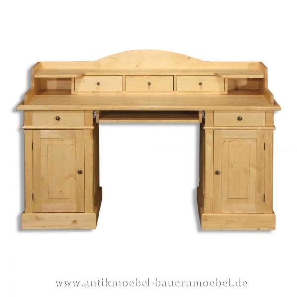 Schreibtisch mit Aufsatz Landhausstil Massivholz Vollholz Kinderschreibtisch Bürotisch Artikel-Nr.: sbt-25-sta
