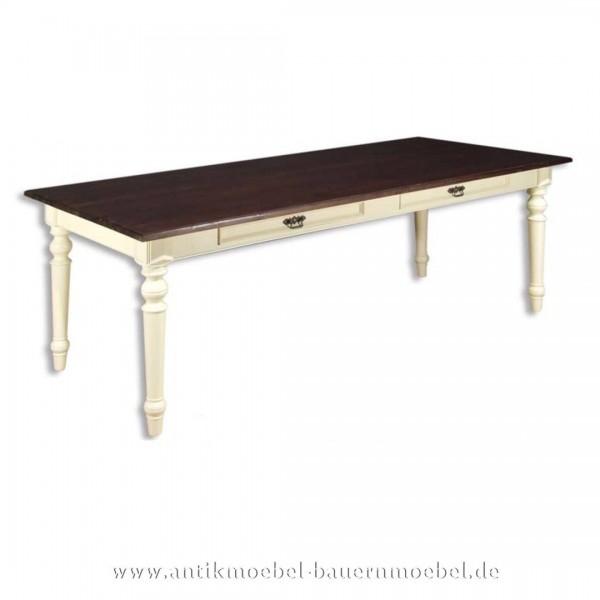 Esstisch Küchentisch Holztisch weiß Massivholz Landhausstil Weichholz quadratisch Artikel-Nr.: est-01-e