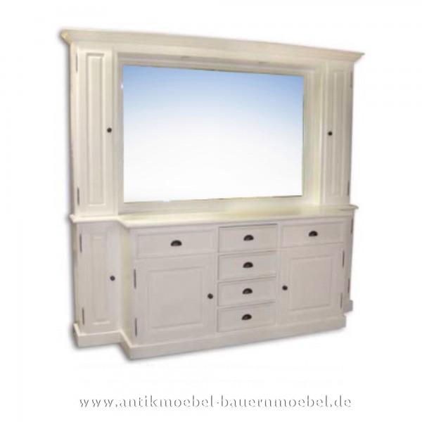 Sideboard- Badschrank mit Spiegelaufsatz weiß Vollholz Lackiert Landhausstil Massivholz