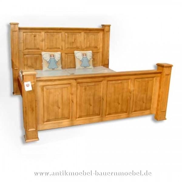 Bett Doppelbett Holzbett 200x200 Bauernstil Gründerzeit Weichholz Massivholz Landhausstil Artikel-Nr.: bet-23-d