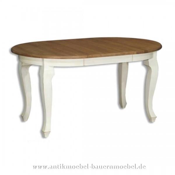 Esstisch Kulissentisch Holztisch weiß ausziehbar Massivholz Landhaus Louis Phillipe Rund Artikel-Nr.: est-05a-r