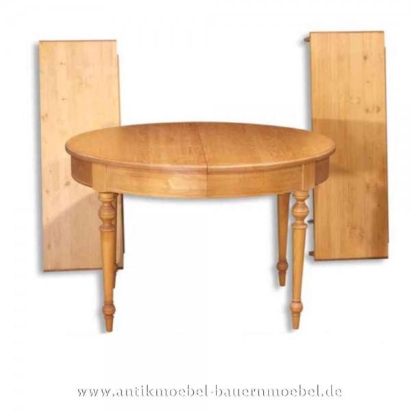 Esstisch Kulissentisch Holztisch ausziehbar Rund Massivholz Landhausstil Weichholz Artikel-Nr.: est-17-r