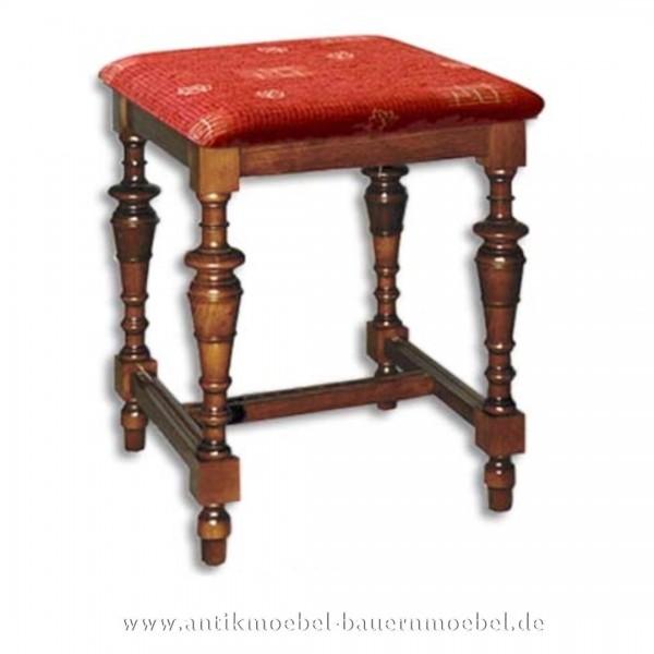 Sitzschemel gedrechselte Hockerbeine Buche Massivholz mit Stoffpolster Landhausstil Artikel-Nr.: stl-35a-hkp
