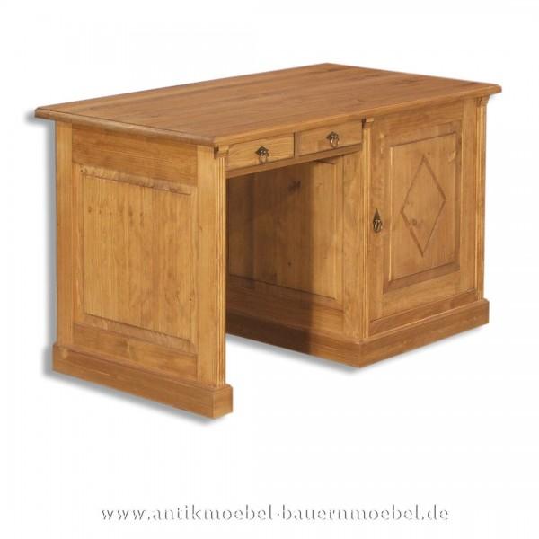 Schreibtisch Landhausstil Massivholz Vollholz Bürotisch PC- Arbeitstisch Naturton Artikel-Nr.: sbt-27-st