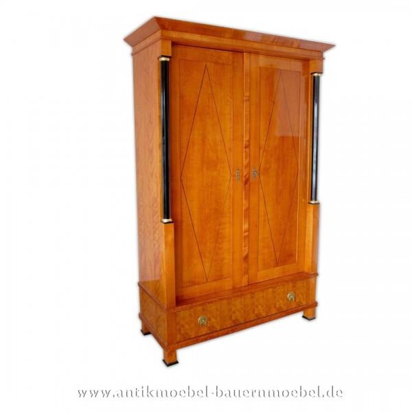 Kleiderschrank Dielenschrank Biedermeier Empire Kirschbaum Holz Artikel-Nr.: kls-203-ms