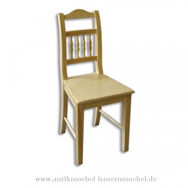 Stuhl Holzstuhl Küchenstuhl dunkelbraun Massivholz Landhausstil Rückenlehne mit Säulen Artikel-Nr.: stl-24-st