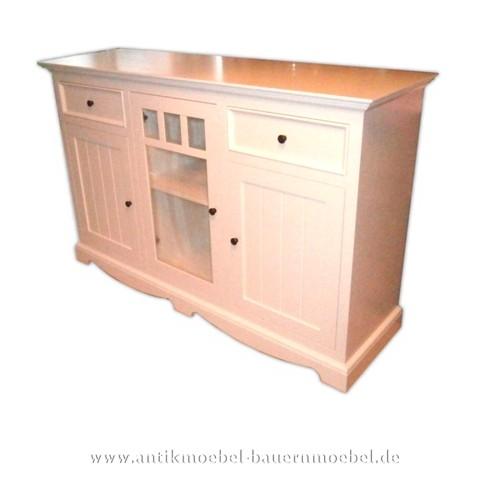 Halbschrank Sideboard Küchen-Anrichte weiß lackiert Gründerzeit Massivholz Landhausstil Artikel-Nr.: hbs-52