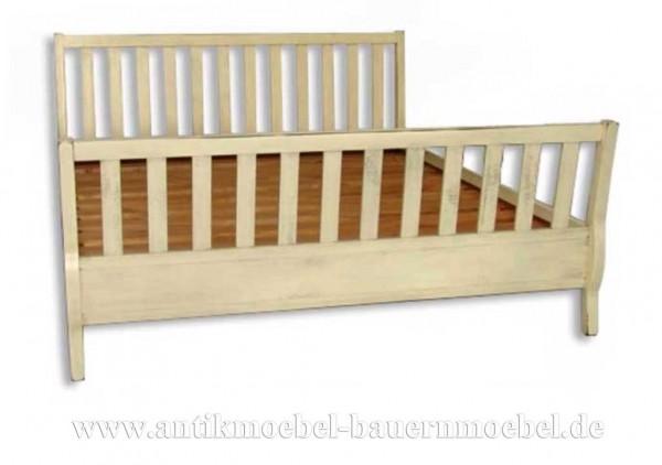 Bett Doppelbett 180x200 Landhausstil Shabby Chic weiß Weichholz Vollholz Lackiert