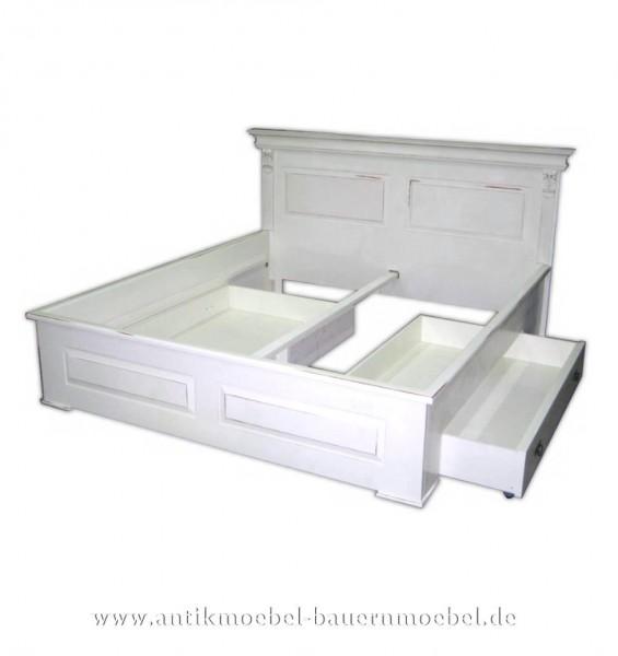 Bett Doppelbett Schubkastenbett 180x200 Landhaus weiß Lackiert Vollholz Shabby Chic Artikel-Nr.: bet-11-d