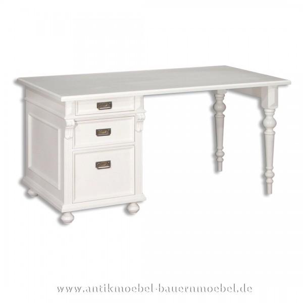 Schreibtisch weiß Massivholz Landhausstil Lackiert Bürotisch PC- Arbeitstisch Vollholz