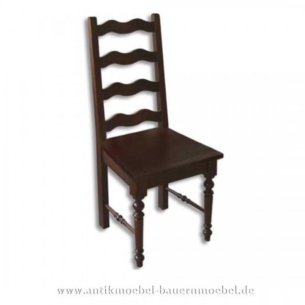 Stuhl Massiv Landhausstil Holzstuhl mit Säulenbeine & Wellenformen in der Rückenlehne