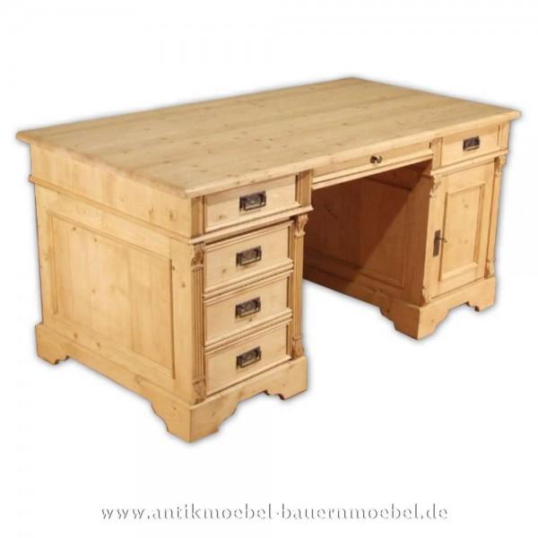 Schreibtisch Massivholz Gründerzeit Bürotisch PC- Arbeitstisch Fichte Weichholz Artikel-Nr.: sbt-04a-st