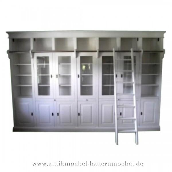 Wohnzimmerschrankwand Bibliothek mit Leiter weiß Landhausstil Gründerzeit Massivholz wos-27a-w