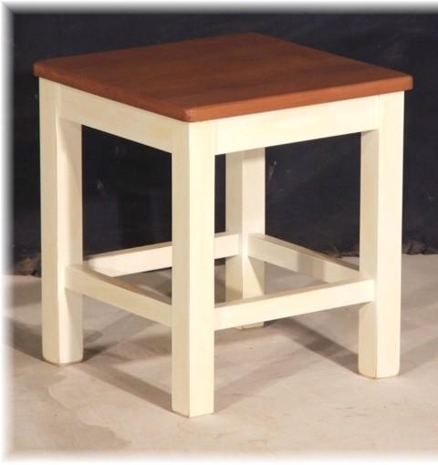 Hocker Massivholz weiß Holz-Schemel Holzhocker Sitzschemel Landhausstil Zweifarbig Artikel-Nr.: stl-01a-hk