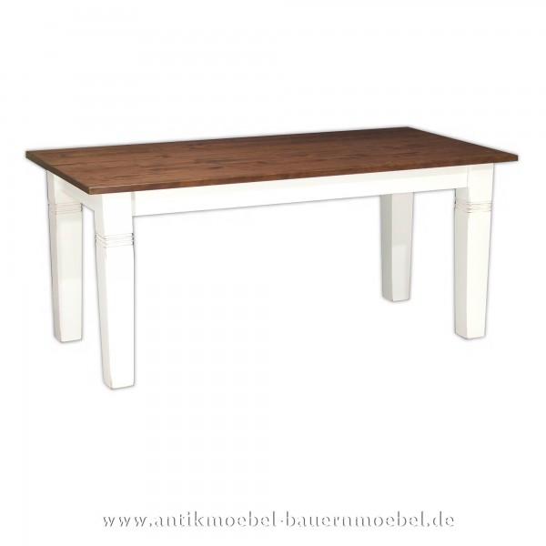 Esstisch Kulissentisch Holztisch Landhausstil weiß dunkelbraun quadratisch Massivholz