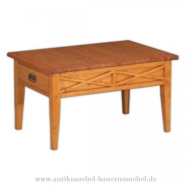 Couchtisch Holztisch Beistelltisch massiv Weichholz Landhausstil Quadratische Vollholz Artikel-Nr.: cut-29