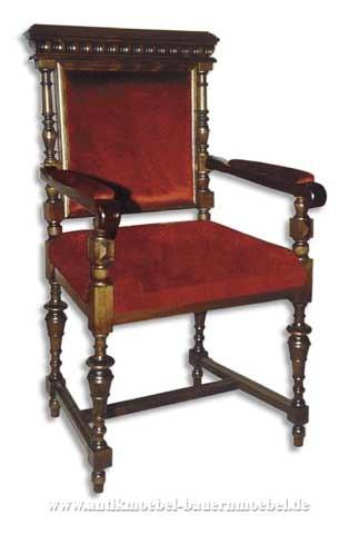 Sessel Stuhl mit Armlehne Säulenbeine Polster in Sitzfläche und Rückenlehne Gründerzeit Artikel-Nr.: stl-41b-sep