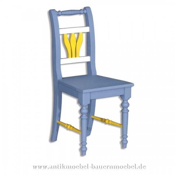 Stuhl Holzstuhl Küchenstuhl Massivholz Landhausstil Fichte blau weiss gelb Lackiert Artikel-Nr.: stl-26b-st