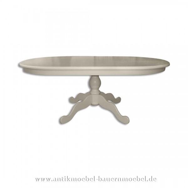 Esstisch Säulentisch Holztisch weiß oval Massivholz Landhausstil Gründerzeit Vollholz Artikel-Nr.: est-72-r