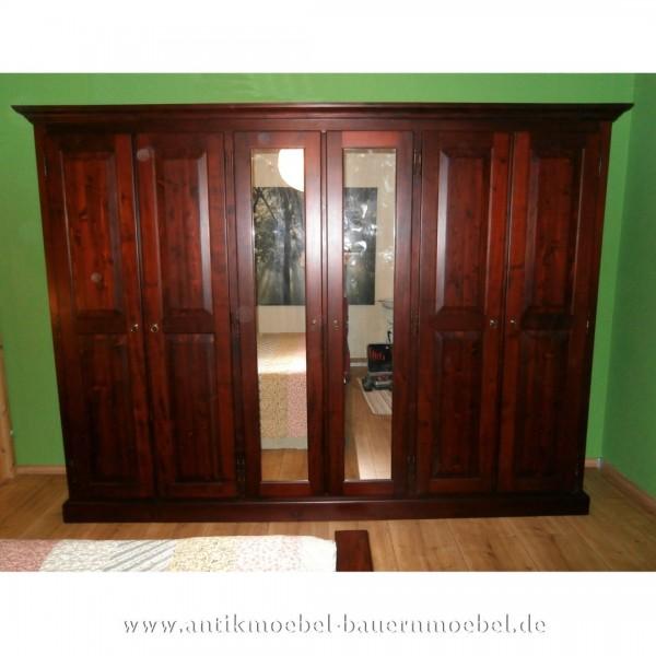 Kleiderschrank Dielenschrank 6-türig davon 2-Spiegeltüren Weichholz Landhaus Gründerzeit