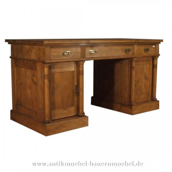 Schreibtisch mit Säulen Landhausstil Gründerzeit Massivholz Naturton PC- Arbeitstisch Artikel-Nr.: sbt-45c-sts