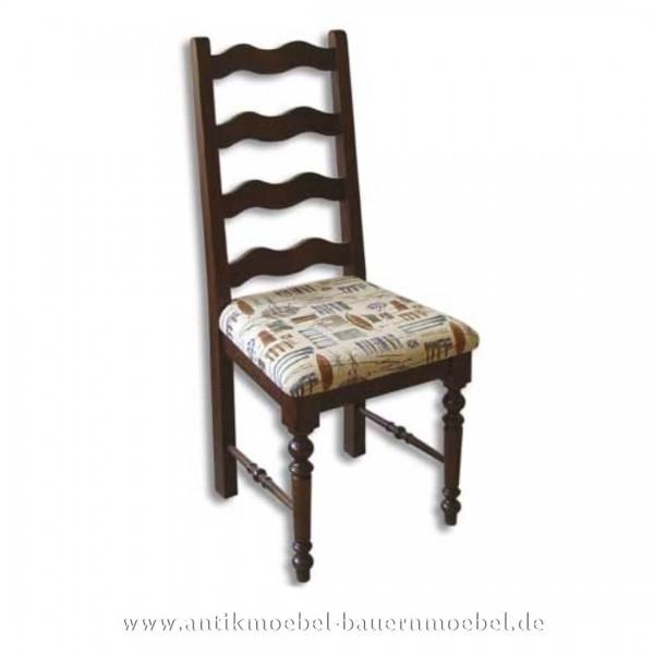 Stuhl gepolstert Landhausstil Holzstuhl mit Säulenbeine & Wellenformen in der Rückenlehne Artikel-Nr.: stl-31-stp