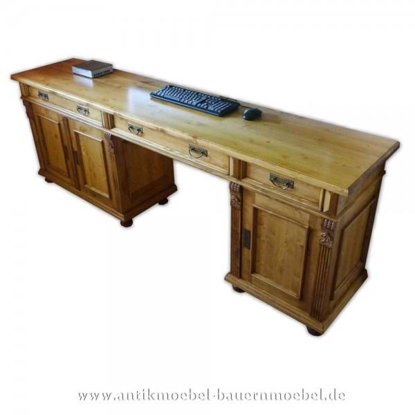 Schreibtisch groß Landhausstil Massivholz Gründerzeit Bürotisch PC- Arbeitstisch gewachst Artikel-Nr.: sbt-49-st