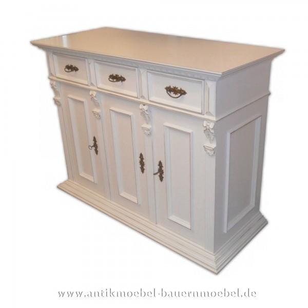 Halbschrank Anrichte Sideboard Massivholz weiß lackiert Gründerzeitmöbel Vollholz Landhausstil Artikel-Nr.: hbs-48