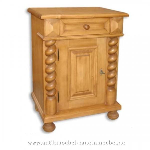 Nachttisch Nachtkonsolen Nachtschrank mit Säulen Massivholz Gründerzeit Vollholz Artikel-Nr.: nts-11-st
