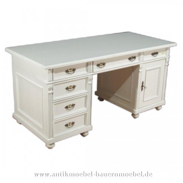 Schreibtisch weiß Landhausstil Massivholz Lackiert Bürotisch PC- Arbeitstisch Vollholz Artikel-Nr.: sbt-14d-st