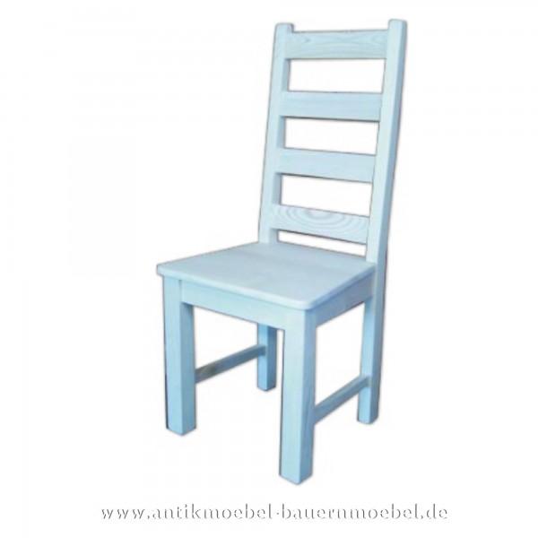 Stuhl Holzstuhl Küchenstuhl weiß Gerade Beine Massivholz Landhausstil hohe Rückenlehne