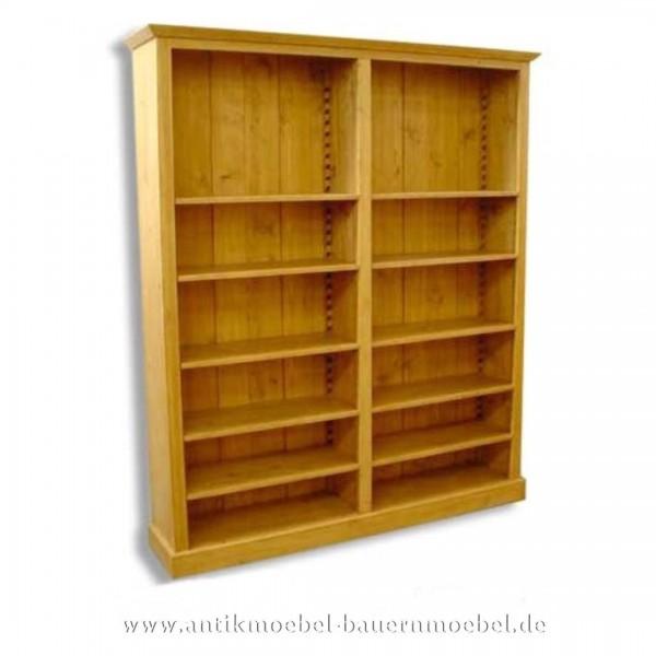 Regal Bücherregal Regalwand Bibliothek Landhausstil Massivholz Vollholz Gewachst Artikel-Nr.: bue-05-rg