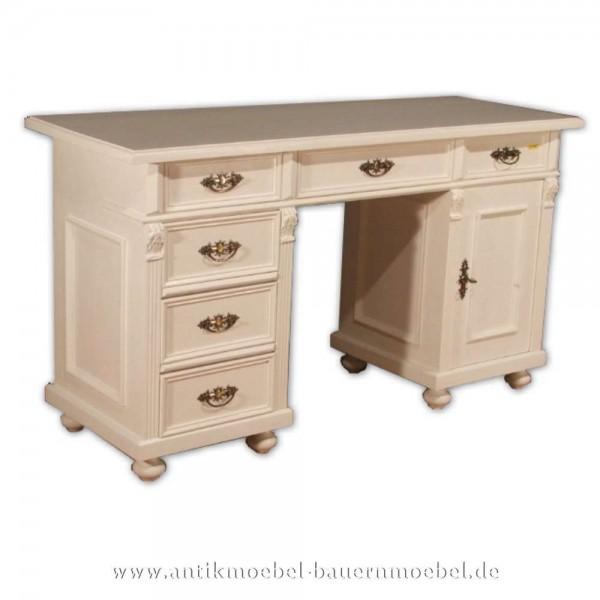 Schreibtisch weiß Landhausstil Massivholz Bürotisch PC- Arbeitstisch Lackiert Artikel-Nr.: sbt-12-st