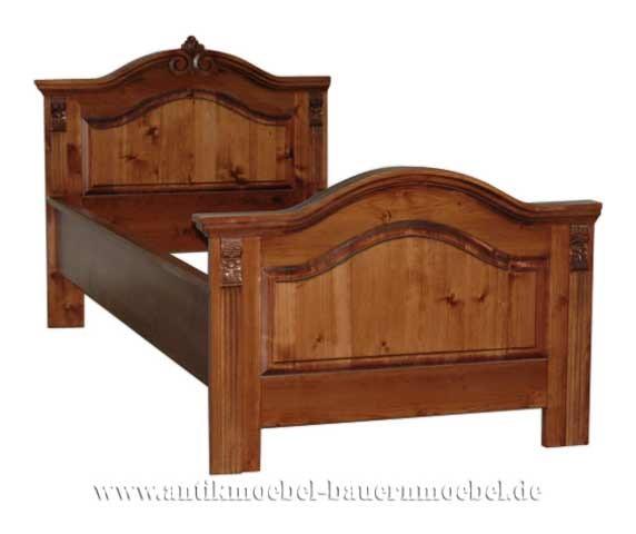 Bett Einzelbett Holzbett 90x200 Bauernmöbel Gründerzeit Massiv Weichholz Landhausstil Gebeizt
