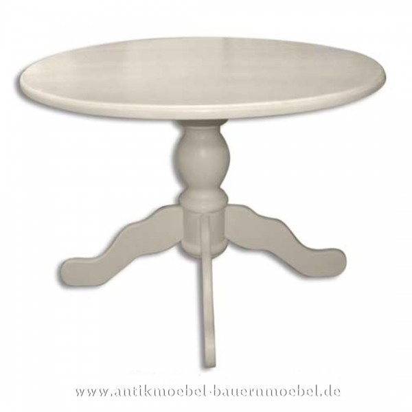 Esstisch Säulentisch Holztisch weiß Rund Massivholz Landhausstil Gründerzeit Vollholz Artikel-Nr.: est-58-r