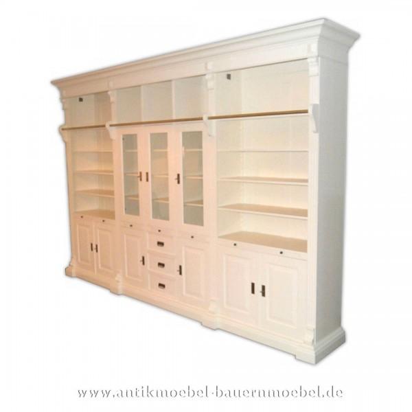 Wohnzimmerschrankwand Bibliothek mit Leiter weiß Landhausstil Gründerzeit Massivholz