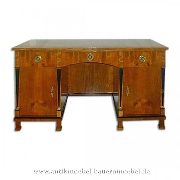 Schreibtisch mit Säulen Kirschbaum Furniert Schellack Biedermeier Arbeitstisch Bürotisch Artikel-Nr.: sbt-207-st