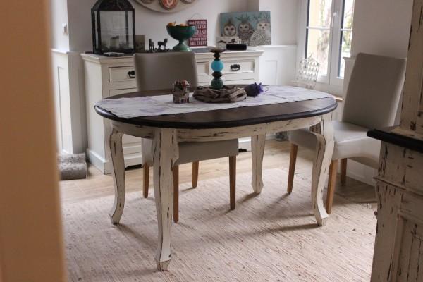Esstisch Kulissentisch Holztisch ausziehbar Massivholz Landhaus Louis Phillipe Rund old color04
