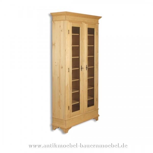 Bücherschrank Vitrinenschrank Holzschrank Massivholz Landhausstil Weichholz Gewachst Artikel-Nr.: bue-08-vs
