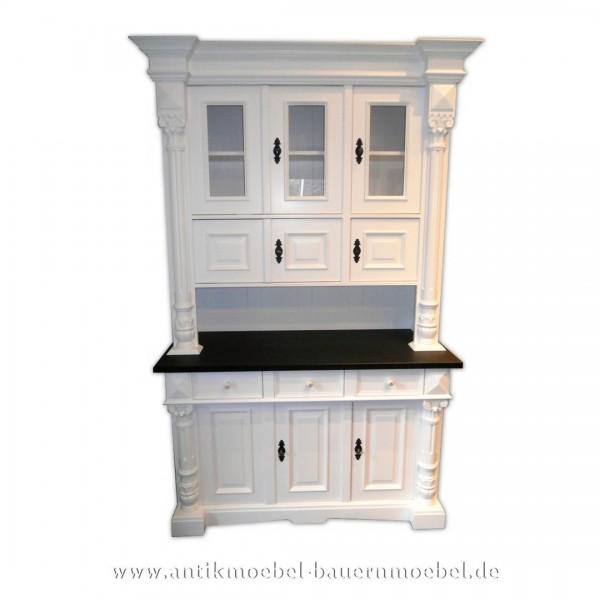 Buffetschrank Küchenbuffet Dielenschrank Landhausmöbel alt weiß Zweifarbig Massivholz